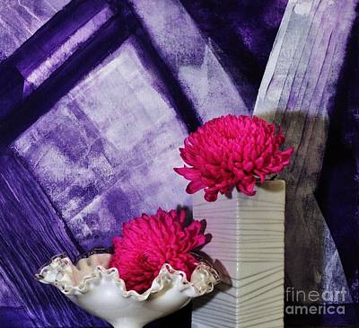 Pink Mums On Purple Poster by Marsha Heiken