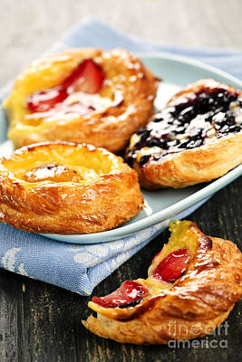 Plate Of Fruit Danishes Poster by Elena Elisseeva