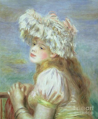 Portrait Of A Young Woman In A Lace Hat Poster by Pierre Auguste  Renoir