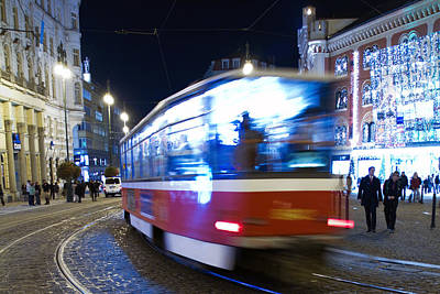 Prague Tram Poster by Stelios Kleanthous