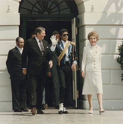 President And Nancy Reagan With Michael Poster by Everett