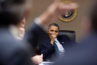 President Barack Obama Laughs Poster by Everett