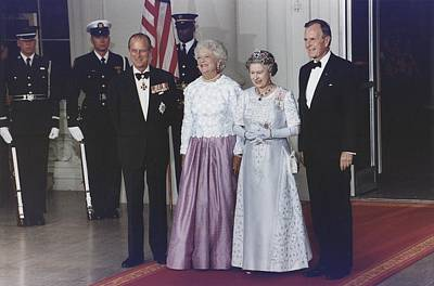 President George And Barbara Bush Stand Poster by Everett