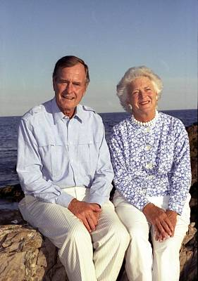 President George Bush And Wife Barbara Poster by Everett