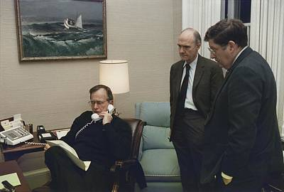 President George Bush In A Telephone Poster by Everett