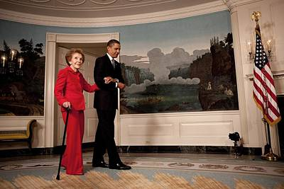President Obama Escorts Former First Poster by Everett