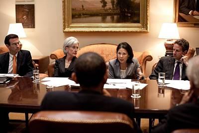 President Obama Listens To Nancy-ann Poster by Everett