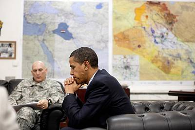 President Obama Meets With Gen. Raymond Poster by Everett
