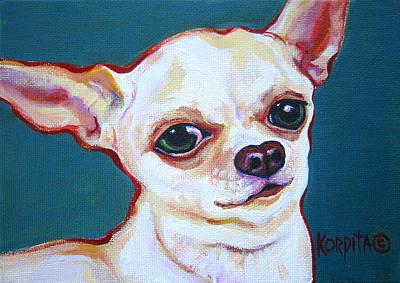 White Chihuahua - Puddy Poster by Rebecca Korpita