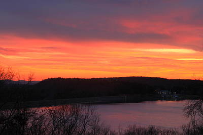 Quabbin Reservoir Windsor Dam Sunset Poster by John Burk