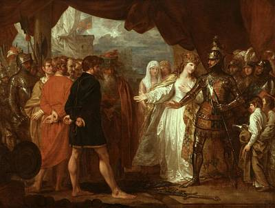 Queen Philippa Interceding For The Lives Of The Burghers Of Calais Poster by Benjamin West