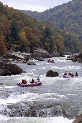 Rafters Riding The Rock Strewn Gauley Poster by Raymond Gehman