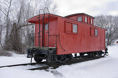 Railroad Train Red Caboose Poster by Randall Nyhof