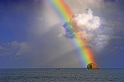 Rainbow On Birdrock- St Lucia. Poster by Chester Williams
