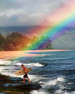 Rainbow Surfer Poster by Joel Lau