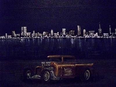 Ratrod Truck In The City Poster by Stanley Whitehouse