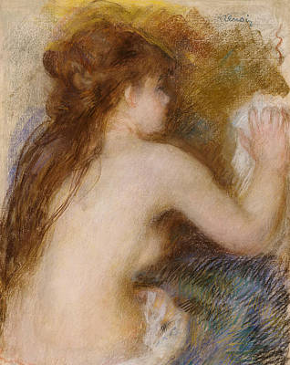 Rear View Of A Nude Woman Poster by Pierre Auguste Renoir