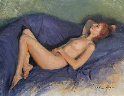 Reclining Nude On Blue Poster by Anna Rose Bain
