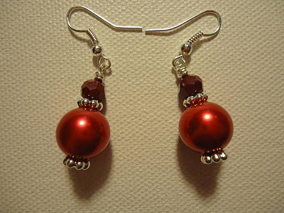 Red Ball Drop Earrings Poster by Jenna Green