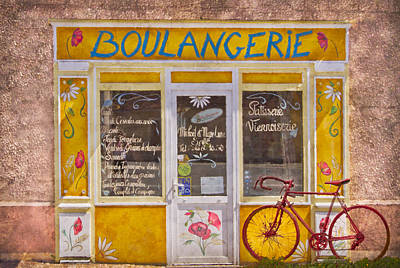 Red Bike At The Boulangerie Poster by Debra and Dave Vanderlaan