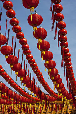 Red Chinese Lanterns At Thean Hou Temple In Kuala Lumpur Poster by Zoe Ferrie