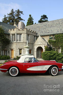 Red Corvette Outside The Playboy Mansion Poster by Nina Prommer