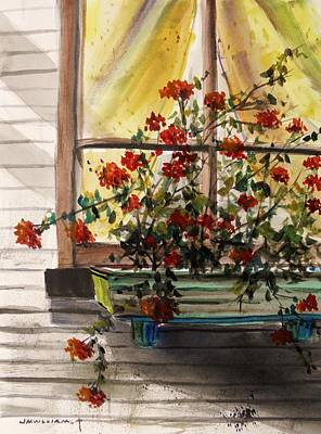 Red Ivy Geranium Poster by John  Williams
