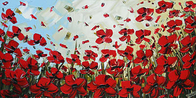 Red Poppy Field Poster by Christine Krainock