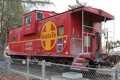 Red Sante Fe Caboose Train . 7d10325 Poster by Wingsdomain Art and Photography