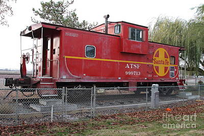 Red Sante Fe Caboose Train . 7d10329 Poster by Wingsdomain Art and Photography