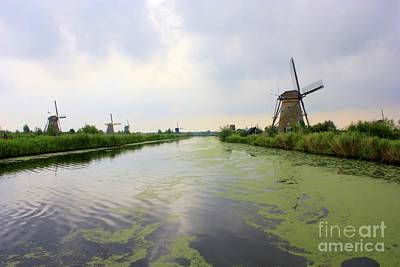 Reflection Of Sky At Kinderdijk Poster by Carol Groenen