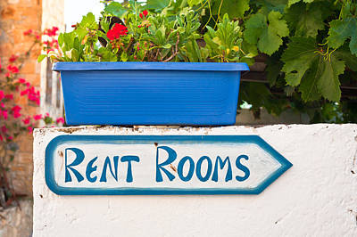 Rent Rooms Sign Poster by Tom Gowanlock