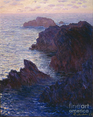 Rocks At Bell Ile Port Domois Poster by Claude Monet
