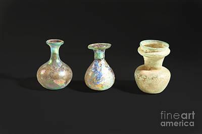 Roman Glass Bottles And Jar Poster by Ilan Amihai