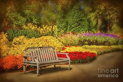 Romantic Flower Garden  Poster by Cheryl Davis