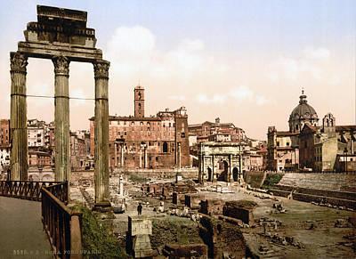 Rome, Ruins Of The Forum Boarium, Rome Poster by Everett