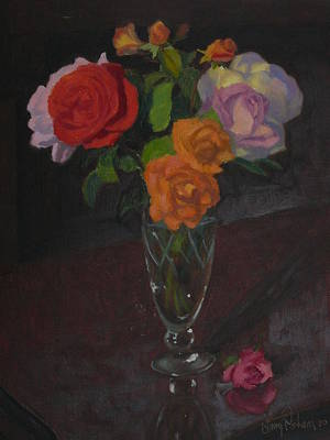 Roses In Glass 1982 Poster by Terry Perham
