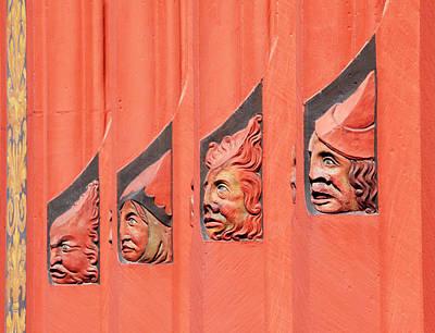 Row Of Busts At Basel's Rathaus Poster by Allan Baxter