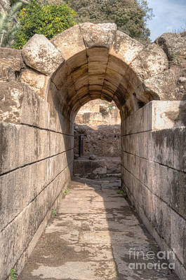 Ruins Of Arched Stone Walkway Poster by Noam Armonn