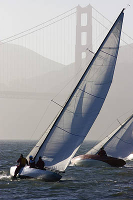 Sailboats Race On San Francisco Bay Poster by Skip Brown