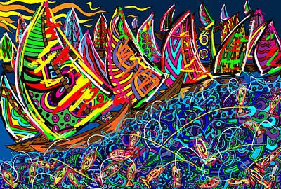 Sailing The Deep Blue Poster by Karen Elzinga