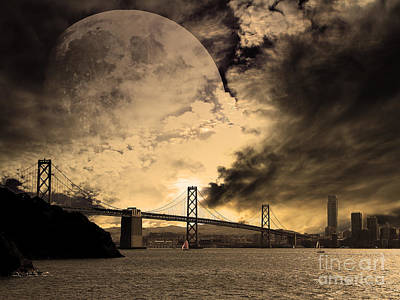San Francisco Under The Moon Poster by Wingsdomain Art and Photography