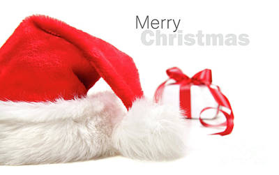 Santa Hat And Gift With Red Bow Poster by Sandra Cunningham