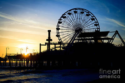 Santa Monica Pier Ferris Wheel Sunset Southern California Poster by Paul Velgos