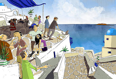 Santorini Rooftop  Poster by Sean Hagan