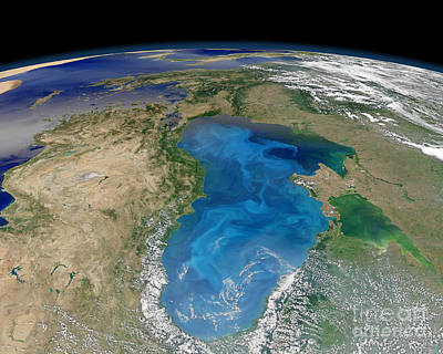 Satellite View Of Swirling Blue Poster by Stocktrek Images