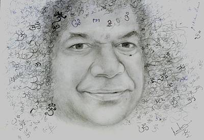 Sathya Sai Baba- Om Signatures Poster by Anne Provost