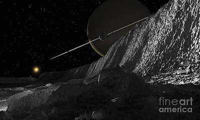 Saturns Moon, Dione, Has Huge Cliffs Poster by Ron Miller