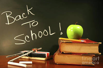 School Books With Apple On Desk Poster by Sandra Cunningham