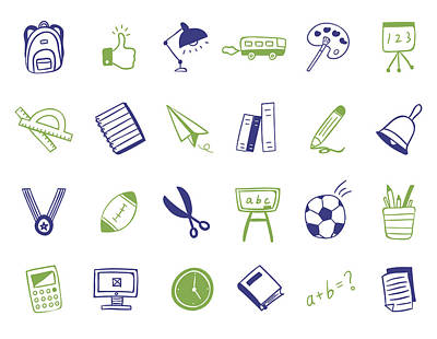 School Icon Set Poster by Eastnine Inc.